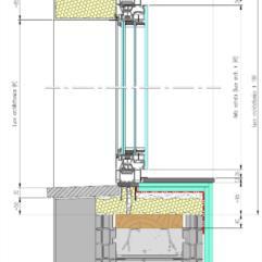 Sezione verticale tipo con serramento in alluminio e sottobancale