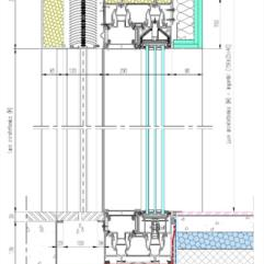Sezione verticale tipo con serramento scorrevole in alluminio, caditoia in inox e veneziana