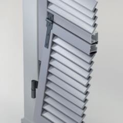 Scuri in alluminio - sistema persiana ad anta con lamelle fisse e sportello alla genovese