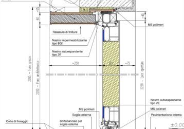 esempio posa_sezione verticale porta ingresso alluminio+spalle isolate+sottobancale