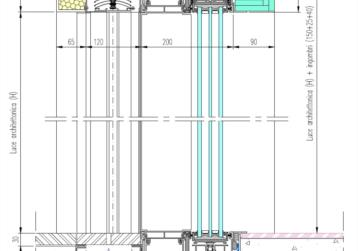 esempio posa_sezione verticale serramento scorrevole alluminio+caditoia inox+veneziane motorizzate